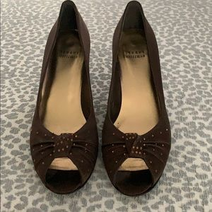 Stuart Weitzman brown satin kitten heels